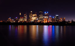 Sydney City. Image taken of Sydney from early night. Photo was taken from the botanical gardens on the eastern side of the Sydney harbor bridge Stock Photography