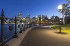 Sydney City Architecture alla notte fotografia stock