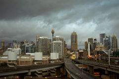 Sydney city, Australia, with storm clouds. Royalty Free Stock Images