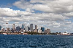 Sydney city centre skyline. Sydney, New South Wales, Australia, September 13, 2013: Sydney city centre skyline seen from on the water of Sydney Harbour, New stock photography