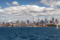 Sydney city centre skyline. Sydney, New South Wales, Australia, September 13, 2013: Sydney city centre skyline seen from on the water of Sydney Harbour, New royalty free stock photos