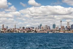 Sydney city centre skyline. Sydney, New South Wales, Australia, September 13, 2013: Sydney city centre skyline seen from on the water of Sydney Harbour, New royalty free stock image