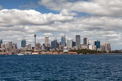 Sydney city centre skyline. Sydney, New South Wales, Australia, September 13, 2013: Sydney city centre skyline seen from on the water of Sydney Harbour, New royalty free stock photography