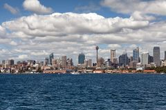 Sydney city centre skyline. Sydney, New South Wales, Australia, September 13, 2013: Sydney city centre skyline seen from on the water of Sydney Harbour, New stock photos