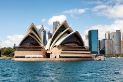 Sydney city centre skyline and Opera House. Sydney, New South Wales, Australia, September 13, 2013: Sydney city centre skyline and Opera House, seen from on the royalty free stock photography