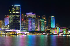 Sydney City and Circular Quay by Night Stock Images