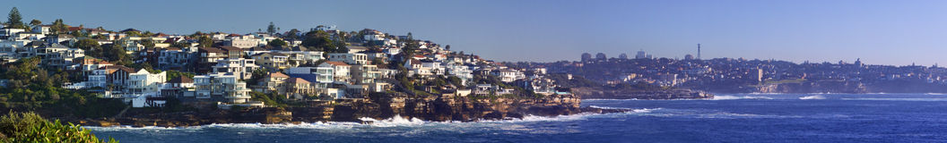 Sydney city coastline. Wide angle or panoramic view of Sydney city coastline showing eastern suburbs and Maroubra beach Stock Images