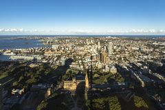 Sydney city evening skyline as seen from Sydney Tower. Against blue sky Royalty Free Stock Photo