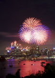 Sydney City Fireworks Stock Images