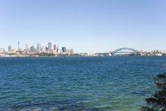 Sydney City, Harbor and Bridge. Sydney City and Harbour ( Harbor ) and Bridge on a blue clear day. Plenty of Sky for copy space Stock Images
