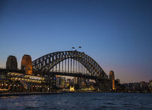 Sydney city harbour bridge and passenger terminal in australia Royalty Free Stock Photo