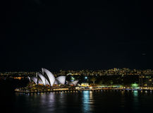 Sydney city harbour with opera house at night in australia Stock Photo