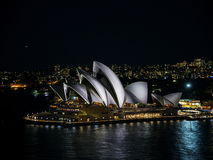 Sydney city harbour with opera house at night in australia Stock Image