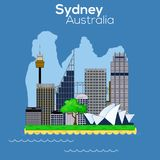 Sydney city icon. Sydney City carton style skyline with Opera, harbour bridge and Sky Tower royalty free illustration