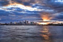 Sydney City Low Taronga Set Sun Royalty Free Stock Images