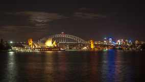 Sydney City Night. Sydney Bridge Panorama Night View stock photos