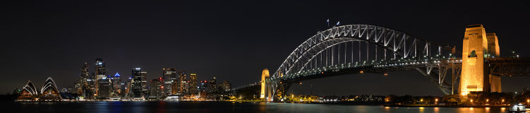Sydney City Night Panorama Photos libres de droits