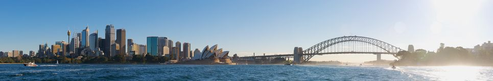 Sydney City Panorama vom Hafen Stockfotos