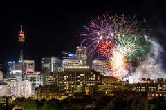 Sydney City Scape Fireworks Arkivfoton