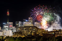 Sydney City Scape Fireworks. Fireworks at Darling Harbour Sydney, seen from Pyrmont stock photos