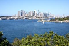Sydney city skyline. View across Sydney harbour to city skyline Royalty Free Stock Images
