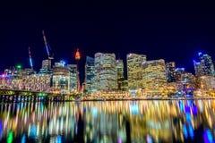 Sydney City Skyline alla notte Immagine Stock Libera da Diritti