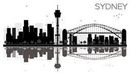 Sydney City skyline black and white silhouette with Reflections. Stock Images