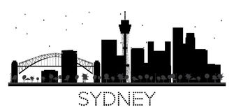 Sydney City skyline black and white silhouette. Royalty Free Stock Photos