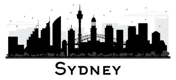 Sydney City skyline black and white silhouette. Royalty Free Stock Photo