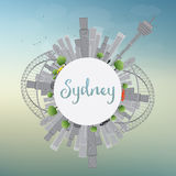 Sydney City skyline with blue sky, skyscrapers and copy space. Royalty Free Stock Photos