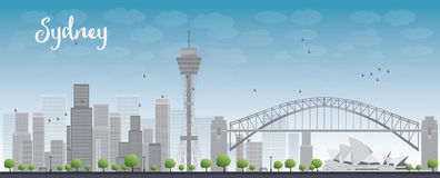 Sydney City skyline with blue sky and skyscrapers Royalty Free Stock Photos