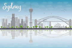 Sydney City skyline with blue sky and skyscrapers Royalty Free Stock Photo