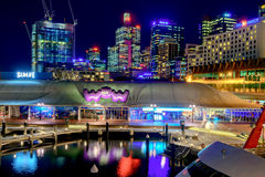 Sydney City Skyline la nuit Photographie stock