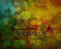 Sydney City Skyline op Grunge-Achtergrondillustratie Stock Foto