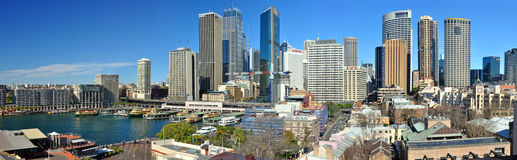Sydney City Skyline Panorama, Australia. Sydney, Australia - July 03, 2011:  Panorama view of Sydney city and skyline with Circular Quay in the left foreground Royalty Free Stock Image