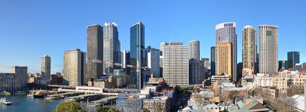 Sydney City Skyline Panorama & Quay Australia. Panorama view of Sydney city CBD and skyline with Circular Quay in the left foreground and the historic Rocks area Royalty Free Stock Image