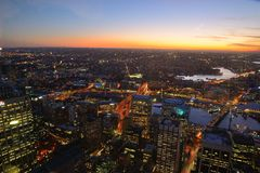 Sydney city skyline at sunset Royalty Free Stock Photos