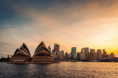 Sydney city skyline at sunset Royalty Free Stock Photos