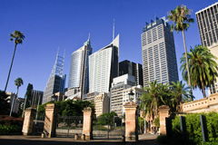 Sydney city tall skyscrapers buildings. Royalty Free Stock Images