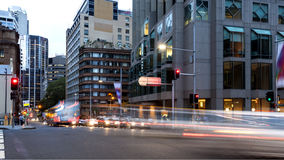 Sydney City traffic light trails Stock Photography