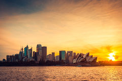 Sydney city view at sunset Royalty Free Stock Photo