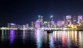 Sydney city in Vivid show. Royalty Free Stock Images