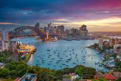 Sydney. Cityscape image of Sydney, Australia with Harbour Bridge and Sydney skyline during sunset