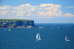Yachts sailing in blue sea. Scenic view of yachts sailing in blue sea with cliff coastline in background, Australia Royalty Free Stock Photos
