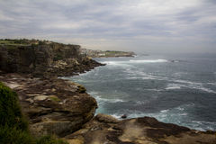 Sydney coast walk from Bondi to Coogee. The picture taken in 2016 shows Sydney coastline in a cloudy day. The coast walk from Bondi beach to Coogee is one of the Royalty Free Stock Photography