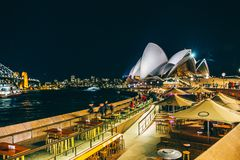 Sydney Darling Harbour cityscape at night, Australia royalty free stock photo