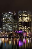 Sydney Darling Harbour by night. Buildings and bay view. Sydney Darling Harbour night shoot stock photography
