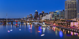 Sydney Darling Harbour Panorama from above at sunset Royalty Free Stock Photos