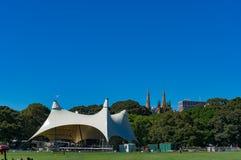 Sydney Domain, openbare ruimte met CBD-horizon op de achtergrond Royalty-vrije Stock Fotografie