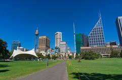 Sydney Domain, openbare ruimte met CBD-horizon op de achtergrond Royalty-vrije Stock Afbeeldingen
